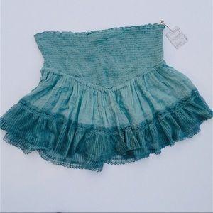 Free People Intimately Turquoise Blue Ruffle Skirt